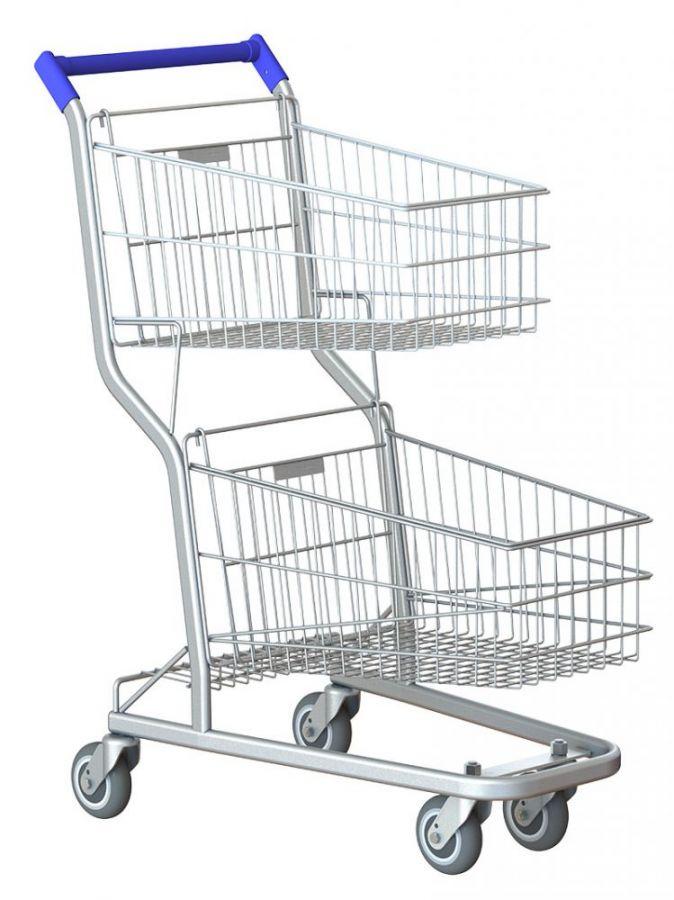 Carrinho de Supermercado, 90Lts Duplo, Premium, Rolamentos Blindados, Amapá